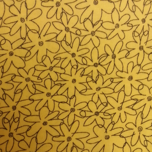 Cool Scarf: Black flowers-yellow